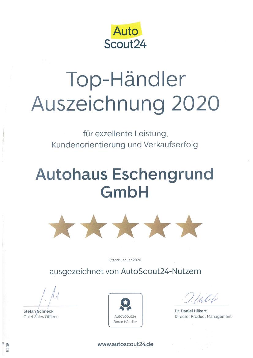 Auszeichnung Autohaus Eschengrund