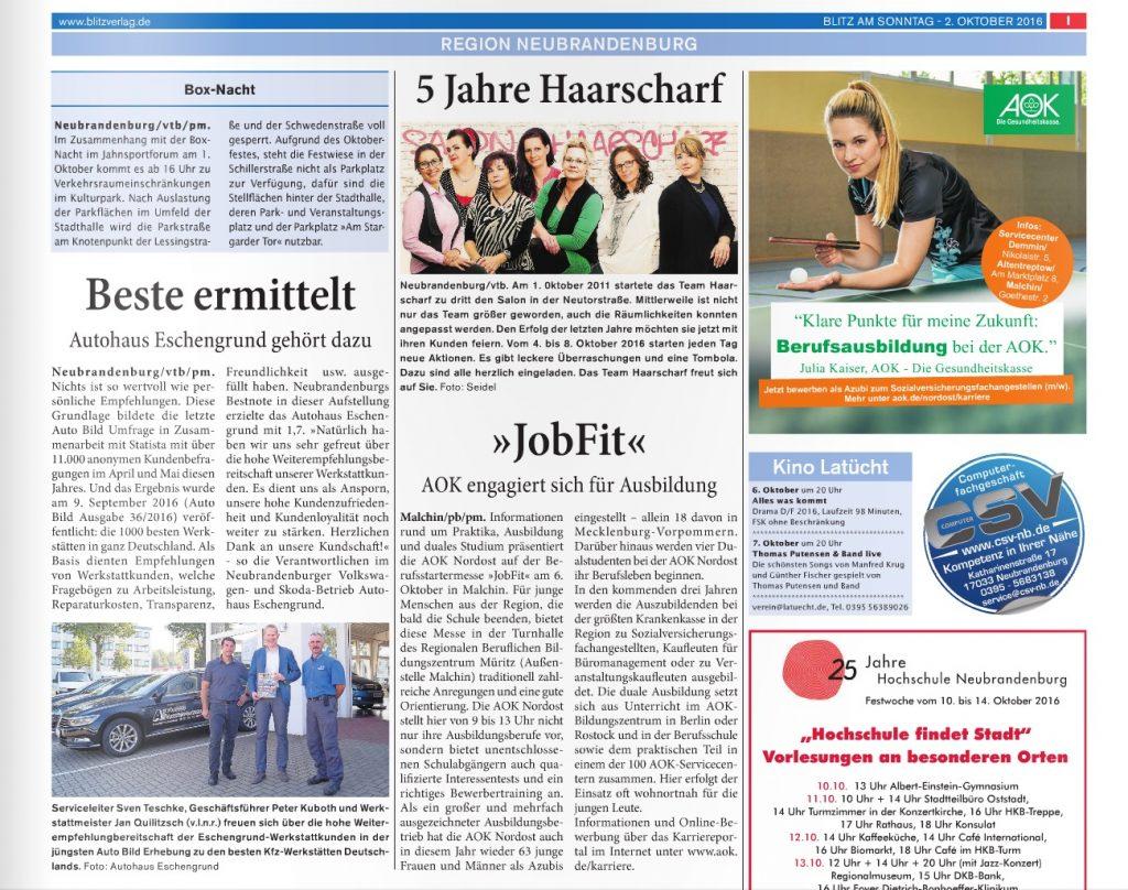Auszeichnung Blitz Autohaus Eschengrund